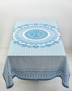 PALANI 140x220 duk blå | Tablecloth | Duker & Løpere | Home | INDISKA Shop Online