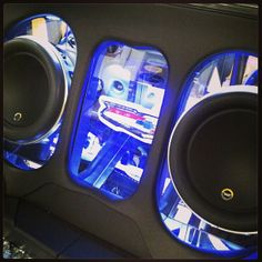 Partial preview in the trunk of the 55... jl audio 10w7 custom box mirror...