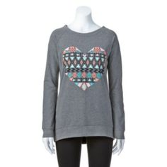 Electric Pink Tribal Heart Tunic Sweatshirt - Juniors-kohls