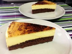 Pastel de brownie y crema catalana