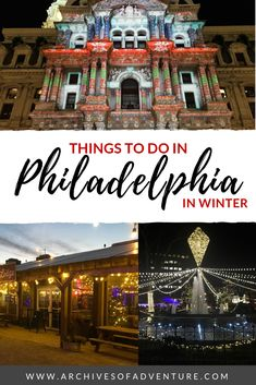 Philadelphia, Pennsylvania has lots of fun holiday-related activities to experience, and they can all be done on a budget! If you're looking for a place to get into the holiday spirit in the USA, check out these things to do in Philadelphia in winter! Usa Travel Guide, Travel Usa, Travel Tips, Travel Ideas, Winter Lodge, Stuff To Do, Things To Do, Us Destinations, Travel Articles