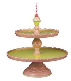 Just Desserts 10-3/4-Inch 2 Tiered Pedestal Cake Plate  $57.50 www.GlassBottomSpringFormPans.com