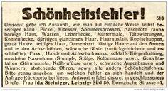 Original-Werbung/ Anzeige 1928 - SCHÖNHEITSFEHLER / IDA STEINIGER - LEIPZIG…