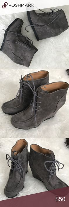 Nine West wedge boots Mint condition, never been worn!  Super cute Nine West suede boots. Wedge heel and lace in front. True size 8. Nine West Shoes Ankle Boots & Booties