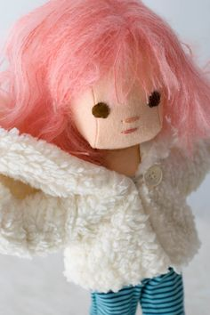Baby Egg doll with Pink Hair and Wardrobe by PhoebeandEgg on Etsy