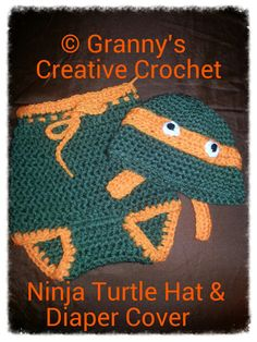 Ninja Turtle Hat and Diaper Cover Newborn to by GrannysCraftiness, $24.99  NEW ITEM