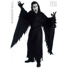 Disfraz de Screaming Ghost Halloween    El disfraz incluye: Tunica con capucha, cinturon, guantes y mascara.    Composición: Tejido de punto  http://www.disfracessimon.com/disfraces-hombre-mujer-adultos/74-disfraz-screaming-ghost-p-74.html
