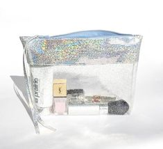 6d58c5cf8fe7 Clear Glitter Cosmetic Bag, Transparent zipper pouch, in-flight beauty bag,  see through make up bag, Iridescent plastic clutch, travel case