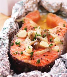 奶油烤鮭魚::食譜