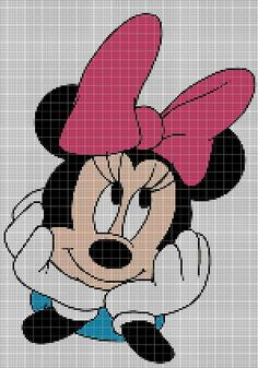 Minnie Mouse head cross stitch di Vandihand su Etsy