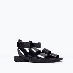 ZARA - WOMAN - ANKLE-STRAP TRACK-SOLED FLAT SANDALS