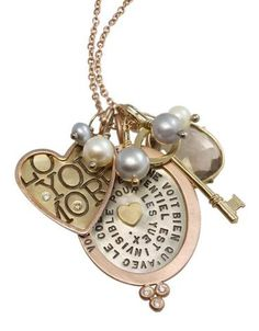 Heather Moore necklace: Gold Heart & Oval Charm Necklace, Smokey Quartz Harriet stone, tiny key, white and grey pearls, white diamond granules
