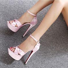 Elegant Peep-Toe Silk High-Heeled Club Sandals