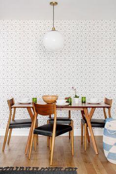 Geometric wallpaper in dining room