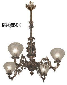 Vintage Hardware & Lighting - Victorian Chandelier - Neo Rococo Victorian 4 Arm Gas Light - Allegorical Gasolier Ca. 1850 (832-QRC-AG)