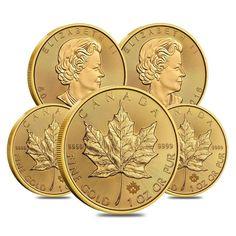 Lot of 5 - 1 oz Canadian Gold Maple Leaf Coin (Random Year) Bullion Coins, Gold Bullion, Maple Leaf Gold, Mint Bar, Canadian Maple Leaf, Gold And Silver Coins, All That Glitters, Leaf Design, Precious Metals