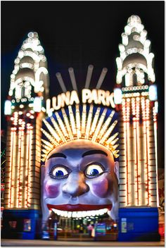 The mouth entrance of the big face welcoming visitors at Luna Park Sydney (originally Luna Park Milsons Point, also known as Sydney's Luna Park), an amusement park located at Milsons Point, on the northern shore of Sydney Harbour in Sydney, New South Wales, Australia. Photography by Matt Sinclair - Carefully selected by Gorgonia www.gorgonia.it