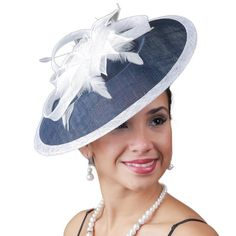 For the Derby or Easter!Navy/White Profile Fascinator