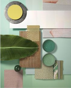 Color trend 2020 neo mint : be inspired by the best inspiration in minth and seafoam green in interiors and design Estilo Tropical, Interior Tropical, Mint Wallpaper, Seafoam Green Color, Material Board, Co Working, Complimentary Colors, Colour Board, Colorful Interiors