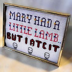 Mary Had A Little Lamb Funny Cross Stitch Sampler Ready To Ship. $15.00, via Etsy.