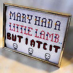 Mary Had A Little Lamb Funny Cross Stitch Sampler Ready To Ship. $15.00, via Etsy.