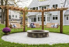 Love this fire pit with pergola and swings., Love this fire pit with pergola and swings. backyard There are lots of items that may finally entire your current yard, including a classic light picket wall or an outdoor full of. Diy Pergola, Outdoor Pergola, Wooden Pergola, Pergola Kits, Pergola Ideas, Pergola With Swings, Pergola Swing, Outdoor Swings, Pergola Roof
