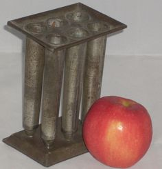 """19th c MINIATURE 6 TUBE CANDLE MOLD PA ORIGIN ONLY 6"""" TALL.    Sold  Ebay    291.72"""