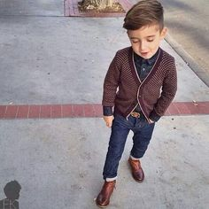 Swanky ;)  (Boot-cut jeans and a different color cardigan)  This makes me happy, cool looking kid!