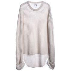 One Teaspoon Harvey Chunky Knit Sweater in cream ($139) ❤ liked on Polyvore featuring tops, sweaters, shirts, long sleeves, shirts & tops, cream chunky knit sweater, extra long sleeve shirts, long sleeve tops en pink sweater
