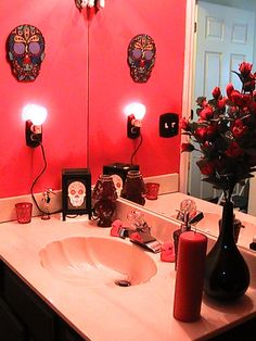 Sugar Skull Bathroom Decor Fresh Day Of the Dead Bathroom with Images Gothic Bathroom Decor, Goth Home Decor, Bathroom Red, Diy Bathroom Decor, Bedroom Decor, Bathroom Ideas, Bathroom Things, Bathtub Ideas, Bathroom Inspo