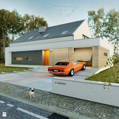 Dom modny - Średnie jednopiętrowe domy jednorodzinne z dwuspadowym dachem murowane, styl nowoczesny - zdjęcie od DOOMO