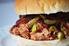 Bakeaholic Mama: Slow Cooker Woodchuck Hard Cider Pulled BBQ Chicken Sandwiches with Roasted Balsamic Onions and Peppers