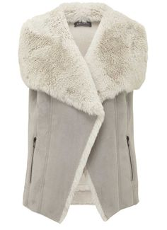 Grey Collar Faux Fur Mix Gilet