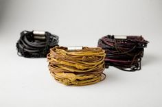 Tendance Bracelet 2018 Description Rubber Bracelet Created by Monique Rancourt This bracelet is constructed of brass chain that is dipped in rubber that has paint pigments mixed in. Fabric Jewelry, Jewelry Art, Jewelry Bracelets, Jewelery, Jewelry Accessories, Jewelry Design, Bangles, Chain Bracelets, Necklaces