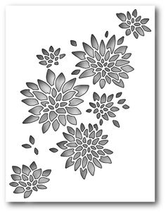 Memory Box 99424 Chrysanthemum Collage wafer thin craft die made from steel. Stencil Diy, Stencil Painting, Fabric Painting, Stencil Patterns, Stencil Designs, Jaali Design, Cnc Cutting Design, Laser Cut Panels, Memory Box Dies