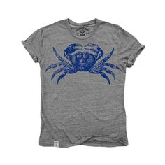 Maryland Blue Crab: Tri-Blend Short Sleeve T-Shirt Tri Vintage Grey from Mouse Theory