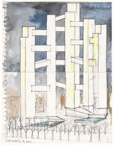 World Trade Center Project, New York, NY, Perspective (watercolor and charcoal)