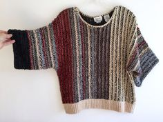 Boucle Striped Wide Cropped Sweater / 80s 90s Earth Tone Striped Color Block Jumper w Wide Short Sleeves / Slouchy Wide Neck + Waist M/LG   This is