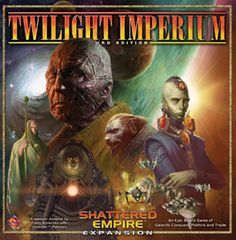 Twilight Imperium: Shattered Empire is an expansion for Twilight Imperium Third Edition. It enhances gameplay with a variety of new options and enables you to play with seven or eight players in an epic struggle for true galactic dominance and Four never-before-seen races join the struggle for empire!  ($59.95)