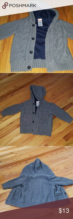 Baby boy lined hooded sweater Gymboree size 6-12 MO cable knit sweater. Gray with inner  lining in navy blue. Gymboree Shirts & Tops Sweaters