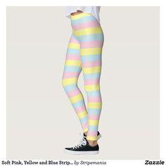 Soft Pink, Yellow and Blue Stripes Leggings #leggings #yogapants #workout #fitness #pilates #spandex #fashion