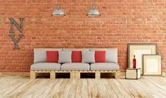 Illustration about Living room with pallet sofa on old wooden floor and brick wall - Rendering. Illustration of room, design, objects - 57019349 Recycled Furniture, Handmade Furniture, Pallet Furniture, Furniture Making, Furniture Design, Pallet Bed Frames, Pallet Sofa, Construction Palette, Modern Couch