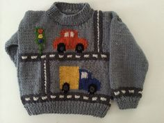 Car and Truck Sweater I knitted for 2 nephews Knitting Patterns Boys, Knitting For Kids, Knitting Projects, Crochet Patterns, Knit Baby Sweaters, Boys Sweaters, Yarn Flowers, Kids Fashion, Creations