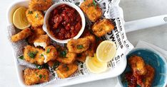Enjoy this cheesy twist on nuggets. These haloumi bites are an indulgent treat served with a tomato chilli jam.