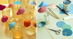 Sombrillitas de papel para decorar