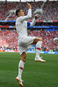Cristiano Ronaldo of Portugal celebrates after scoring his team's first goal during the 2018 FIFA World Cup Russia group B match between Portugal and Morocco at Luzhniki Stadium on June 2018 in. Get premium, high resolution news photos at Getty Images Cristiano Ronaldo Portugal, Cristiano Ronaldo Cr7, Cristino Ronaldo, Ronaldo Juventus, Hot Rugby Players, Best Football Players, Fifa, Cr7 Portugal, Cr7 Football