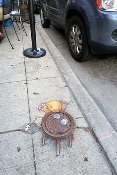 sluggo on the street — The al fresco dining experience was excellent,. 3d Street Art, Street Art Graffiti, Street Artists, Graffiti Artists, David Zinn, Chalk Artist, New York Graffiti, Pavement Art, Sidewalk Chalk Art