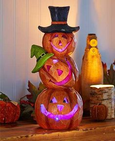 Holiday Lighted Stacked Pumpkins Color Changing