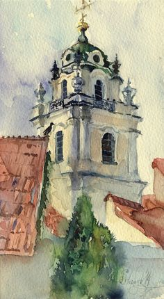 "Print of watercolor painting - architecture painting - Vilnius ""Vilniaus Universitetas"" paper"