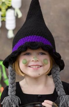Bewitching Hat - Crochet a perfectly spooky witch hat this Halloween for your favorite trick-or-treater. This easy pattern lets you work up a pointy and positively bewitching hat, complete with grey braids. From the October 2015 issue of I Like Crochet Bonnet Crochet, Crochet Motifs, Crochet Baby Hats, Cute Crochet, Crochet For Kids, Crochet Crafts, Crochet Projects, Knitted Hats, Knit Crochet